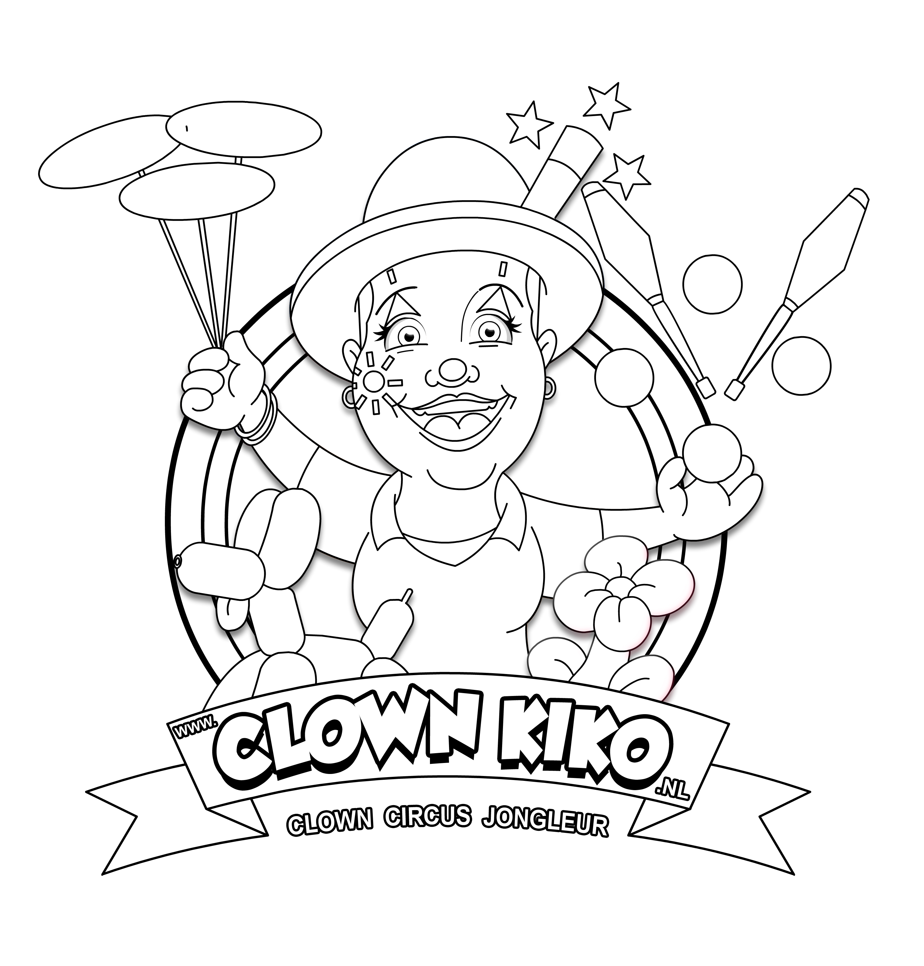 Clown Kiko Kleurplaat