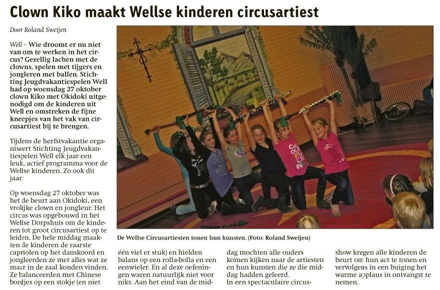 circus kiko - circusdag met eindshow door de kinderen - flowersticks act in de krant